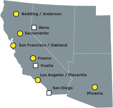 Bejac's California, Arizona, and Nevada locations